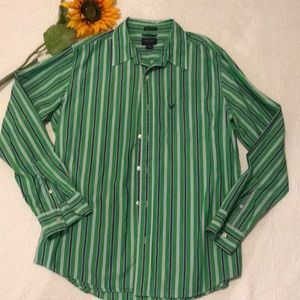 American Eagle Large Striped Button down